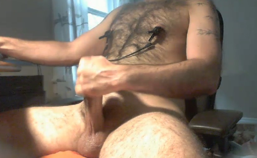 Chronic masturbator with chest hair